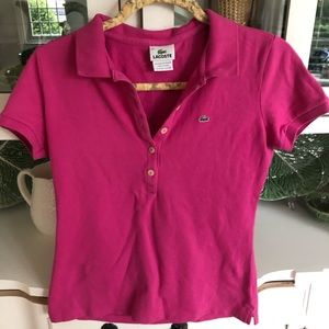 GUC Lacoste womens polo pink xs/small collared